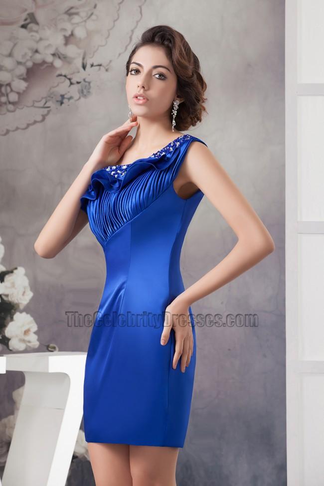 Royal Blue Short Mini One Shoulder Party Homecoming Dresses ...