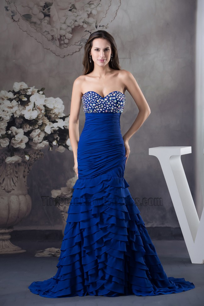 Royal Blue Sweetheart Beaded Prom Gown Formal Evening ...