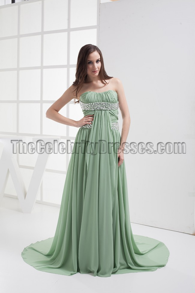 2ca1fef6b5a4 Sage Beaded Strapless Prom Gown Evening Dresses - TheCelebrityDresses