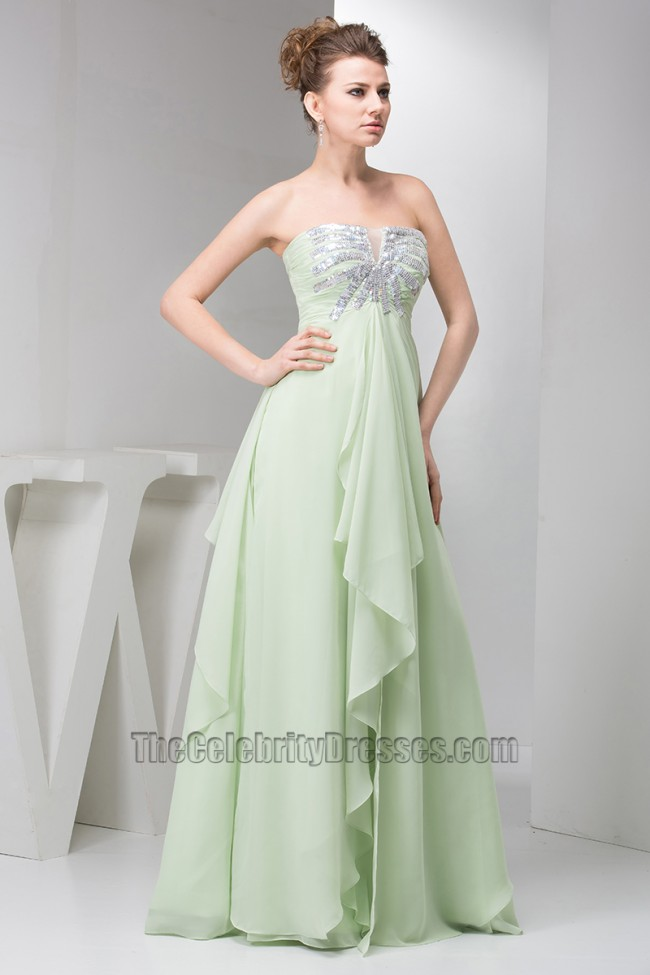 3d5afc2ee788 Sage Strapless A-Line Chiffon Prom Gown Evening Dresses ...