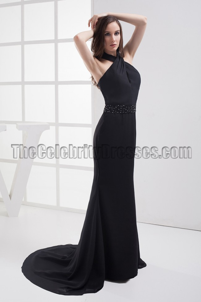 Sexy Black Halter Beaded Evening Dress Prom Gown Thecelebritydresses