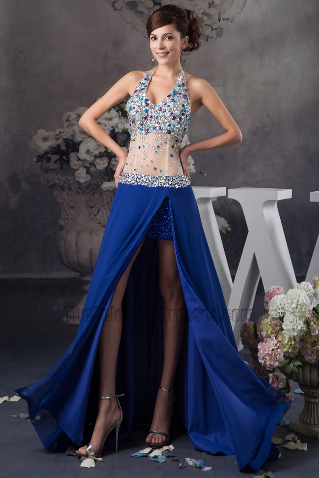 Sexy Halter See Through Royal Blue Evening Dress Prom Gown ... - photo#49
