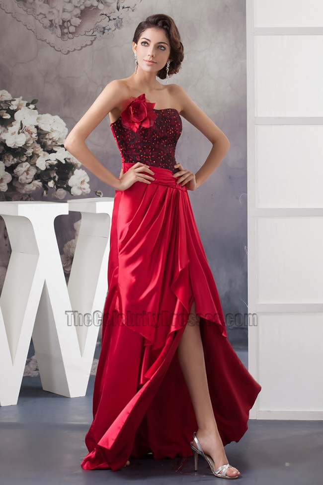 Sexy Red Strapless High Low Prom Gown Evening Dresses ...Red High Low Prom Dresses 2013