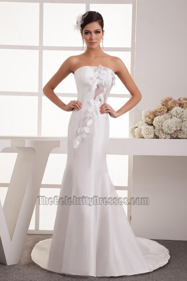Sheath column strapless chapel train wedding dress bridal for Free wedding dress catalog