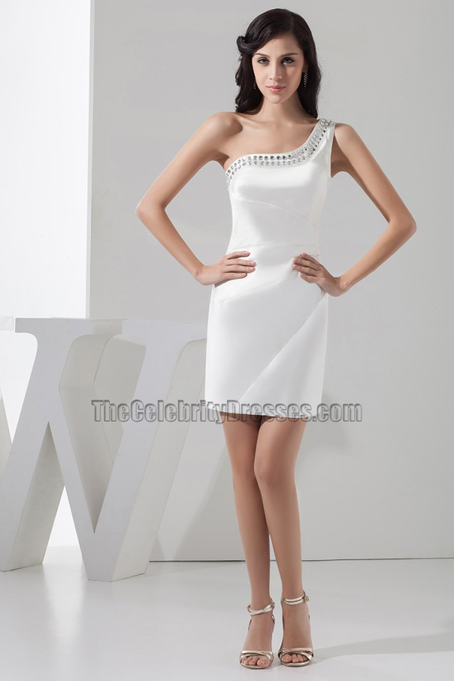 Short White One Shoulder Party Graduation Homecoming Dress