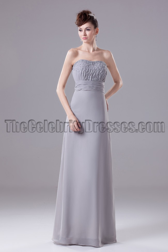 Silver Chiffon A-Line Formal Dress Prom Gown - TheCelebrityDresses