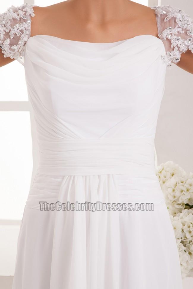 Simple cap sleeves chiffon floor length wedding dress for Free wedding dress catalog