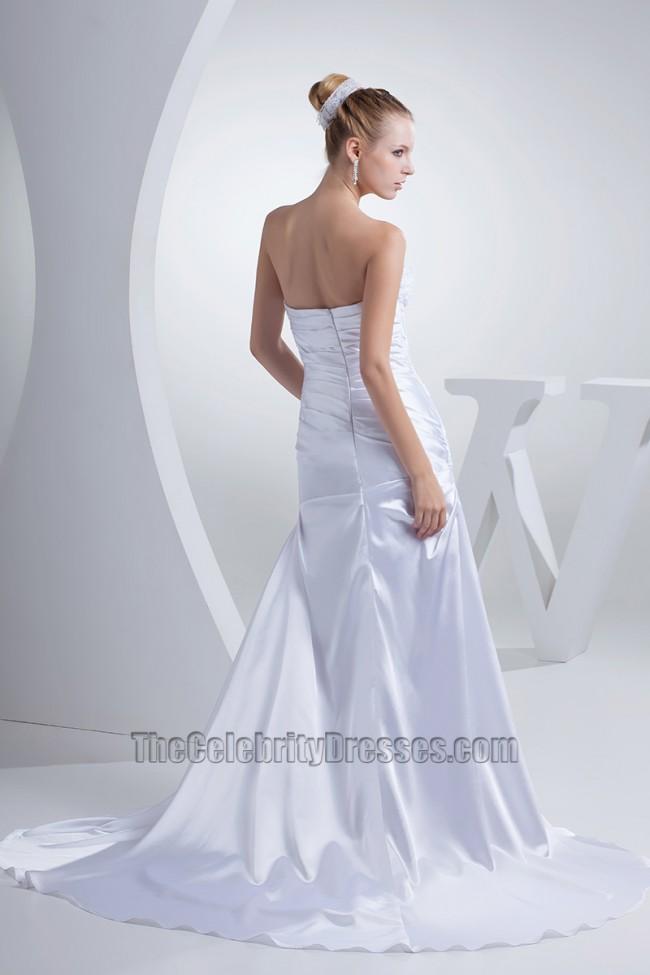 Strapless a line chapel train silk like satin wedding for Free wedding dress catalog