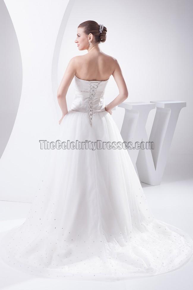 Strapless a line chapel train wedding dresses for Free wedding dress catalog