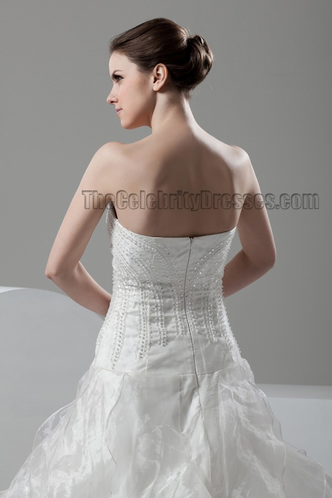 Strapless sweetheart a line ruffles wedding dresses bridal for Strapless wedding dress with ruffles