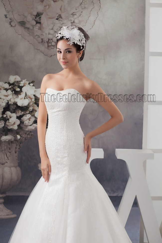 Taffeta Strapless Trumpet Wedding Dresses With Beaded Lace : Trumpet mermaid strapless sweetheart beaded lace up