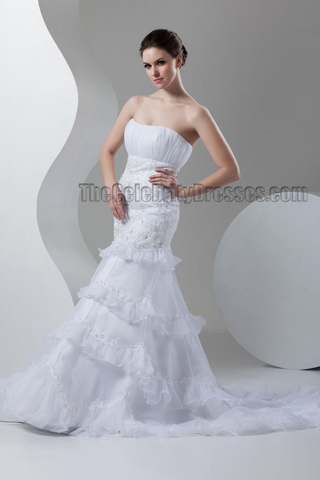 Trumpet Mermaid Strapless Embroidered Wedding Dresses