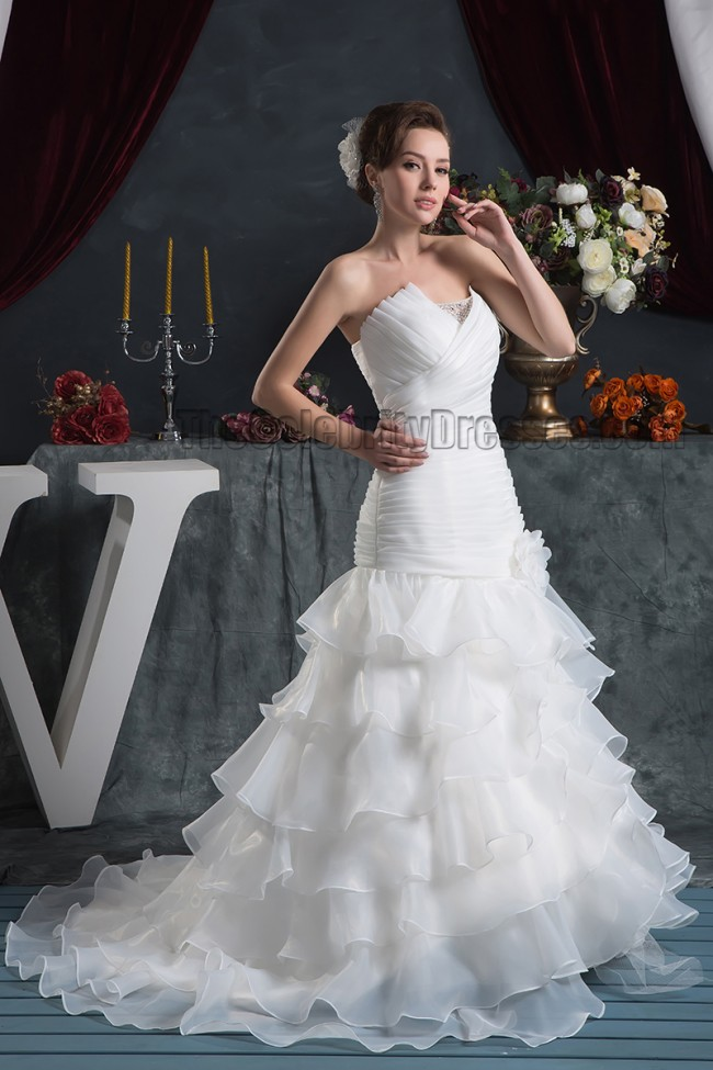 Trumpet Wedding Dresses With Ruffles : Wedding celebrity dresses trumpet mermaid strapless ruffles