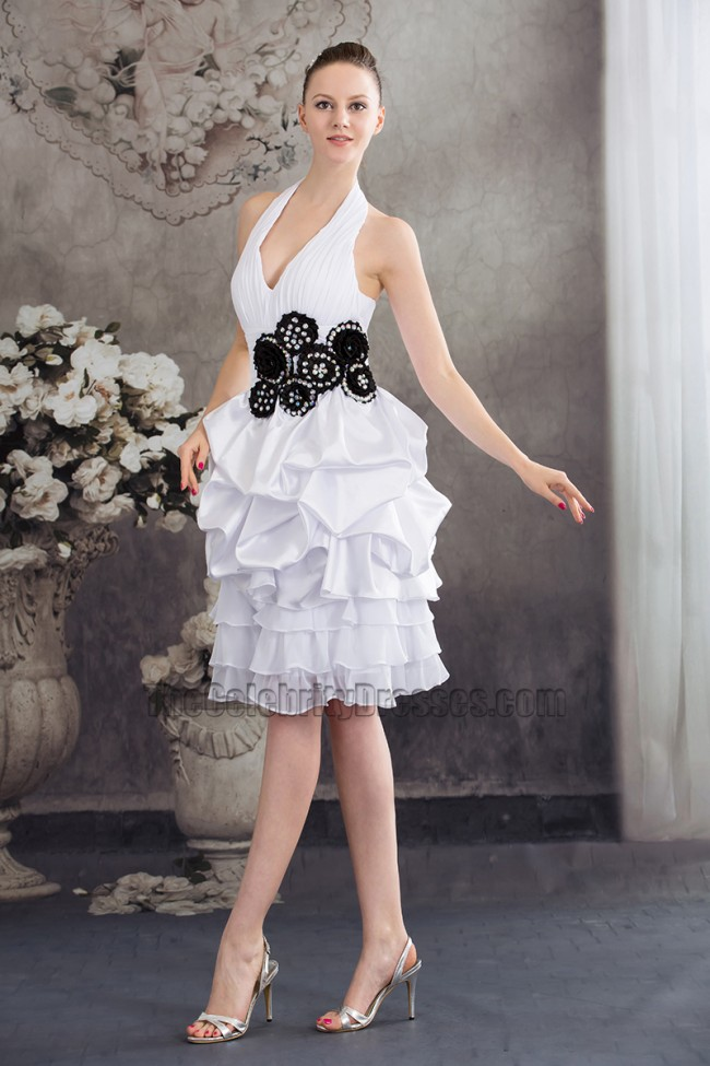 White Halter Knee Length Cocktail Graduation Party Dresses