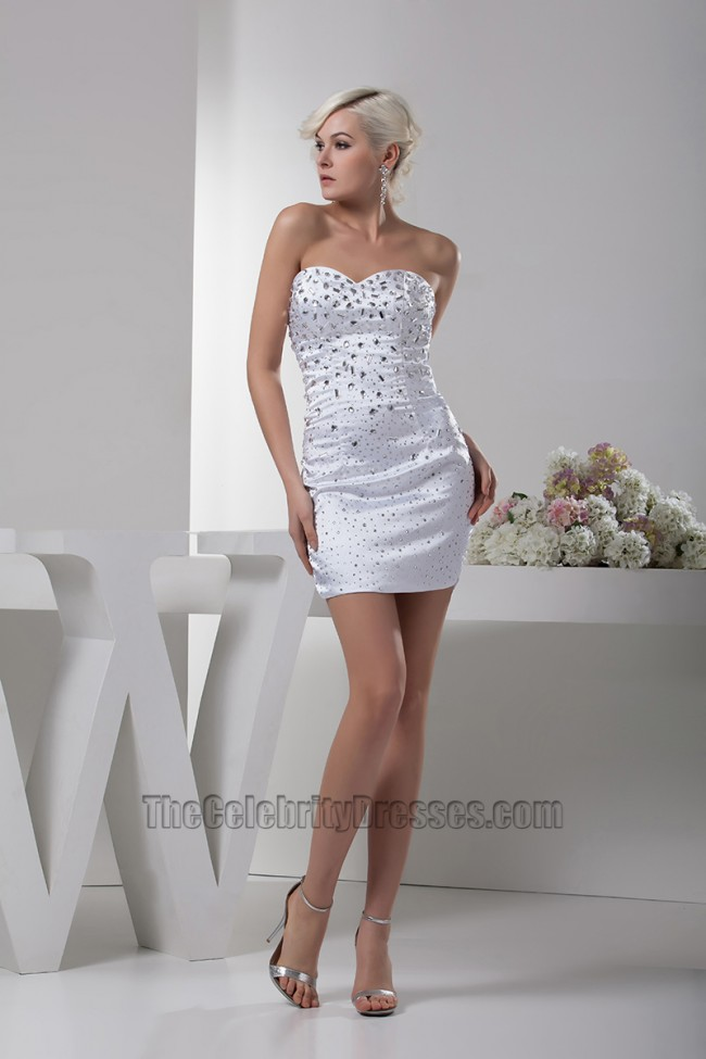 White Short Mini Sweetheart Strapless Beaded Party Cocktail Dress TheCelebrityDresses