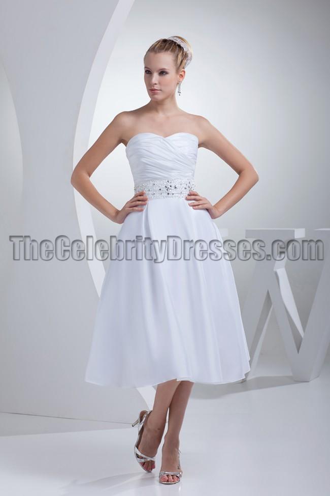 White strapless a line tea length wedding dresses for White strapless wedding dresses
