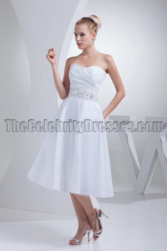 White Strapless A-Line Tea-Length Wedding Dresses - TheCelebrityDresses