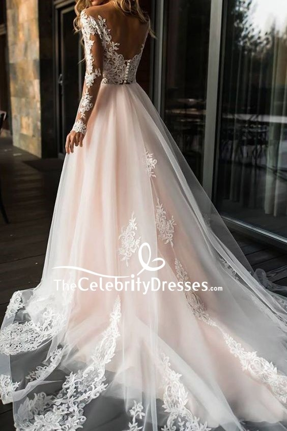 d25becf233b A-line Applique Wedding Dress With Long Sleeves - TheCelebrityDresses