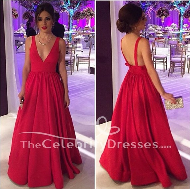 A-Line Red Deep V-neck Ball Gown Evening Prom Dresses ... 1f9a557c0