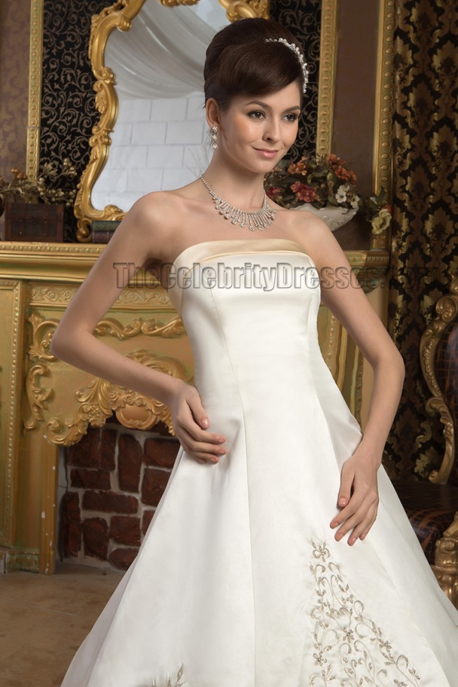 A-Line Strapless Embroidered Ivory And Champagne Wedding Dresses ...