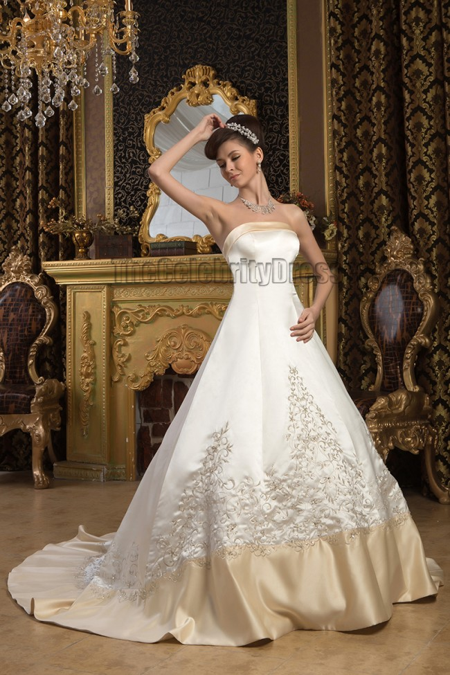 Champagne Wedding Dresses A Line : A line strapless embroidered ivory and champagne wedding