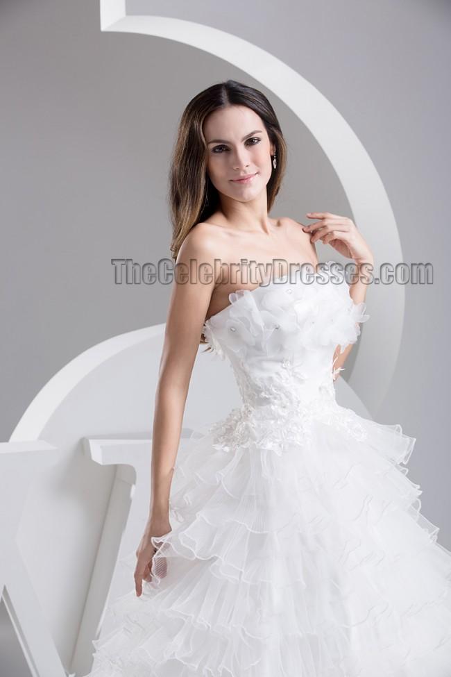A line strapless organza chapel train wedding dress bridal for Free wedding dress catalog