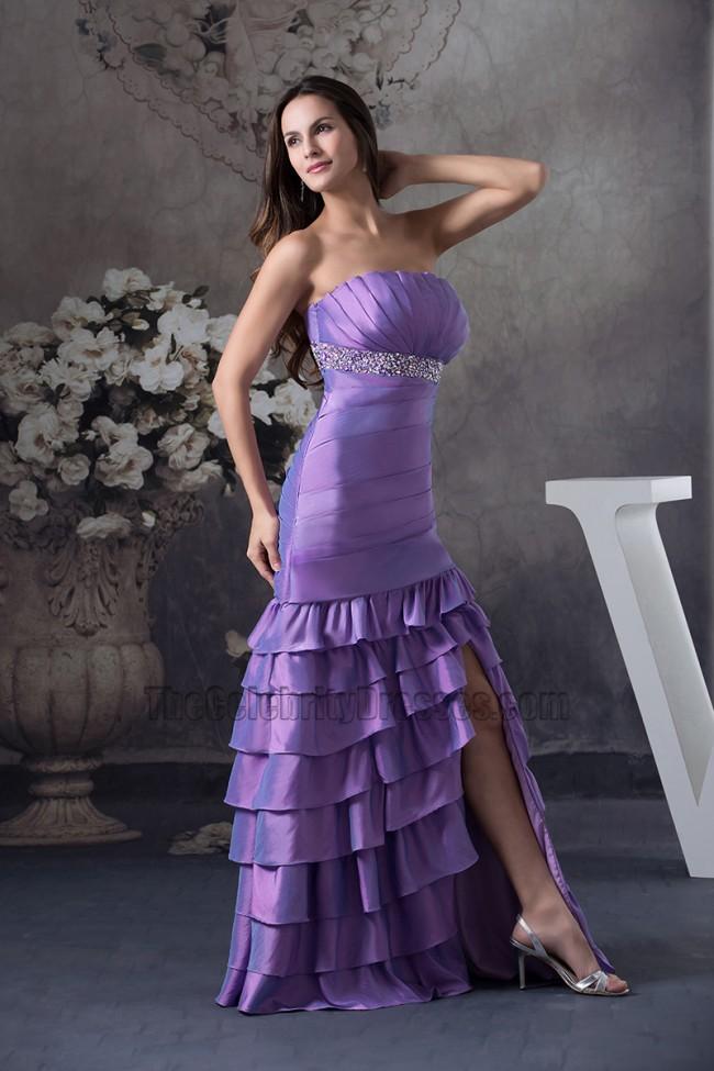 Strapless Purple Mermaid Ruffles Formal Dress Prom Gown ...