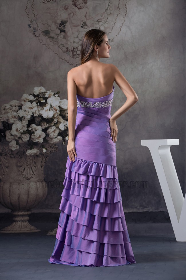 Strapless Purple Mermaid Ruffles Formal Dress Prom Gown