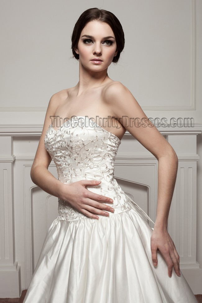 A line strapless sweetheart embroidered chapel train for Free wedding dress catalog