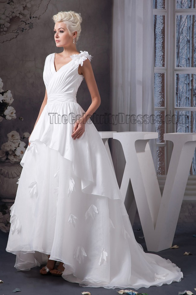 A line strapless v neck sweep brush train wedding dresses for V neck strapless wedding dress
