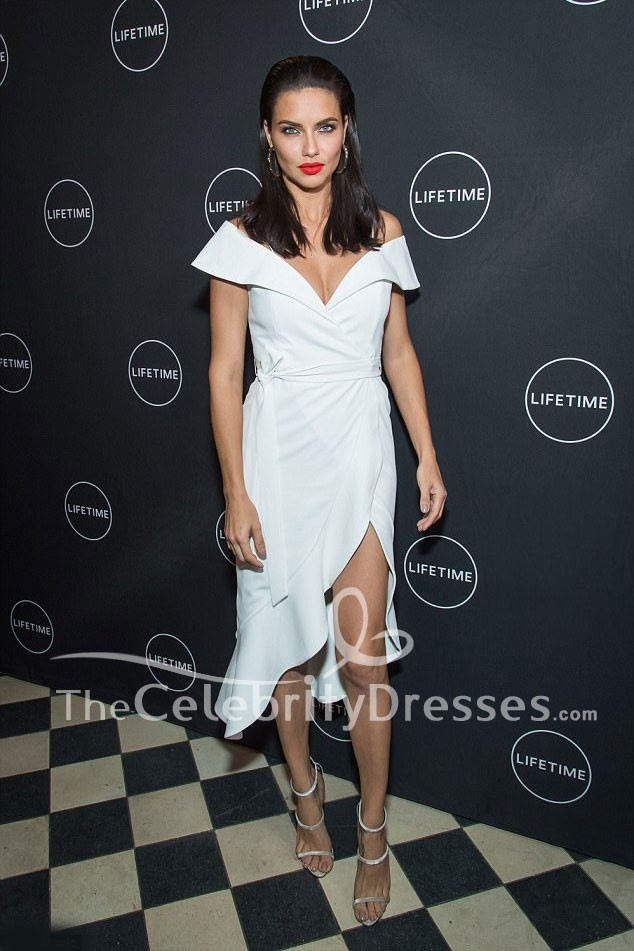 Adriana Lima White Off The Shoulder High Low Party Dress