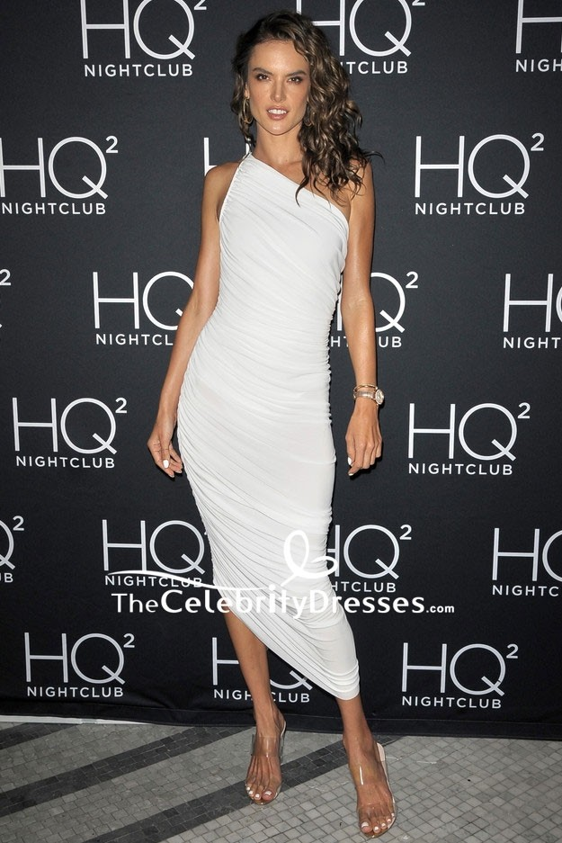 0c610ebedc7 Alessandra Ambrosio White One-shoulder Ruffle Cocktail Dress HQ2 Beachclub