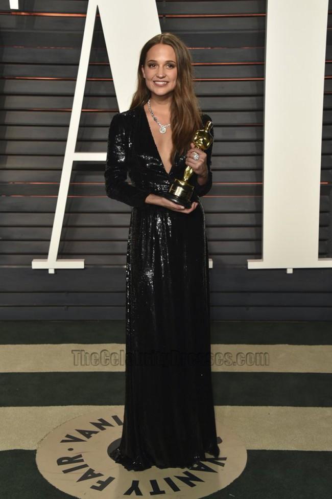 Alicia Vikander Black Long Sleeve Sequins Evening Dress Vanity Fair