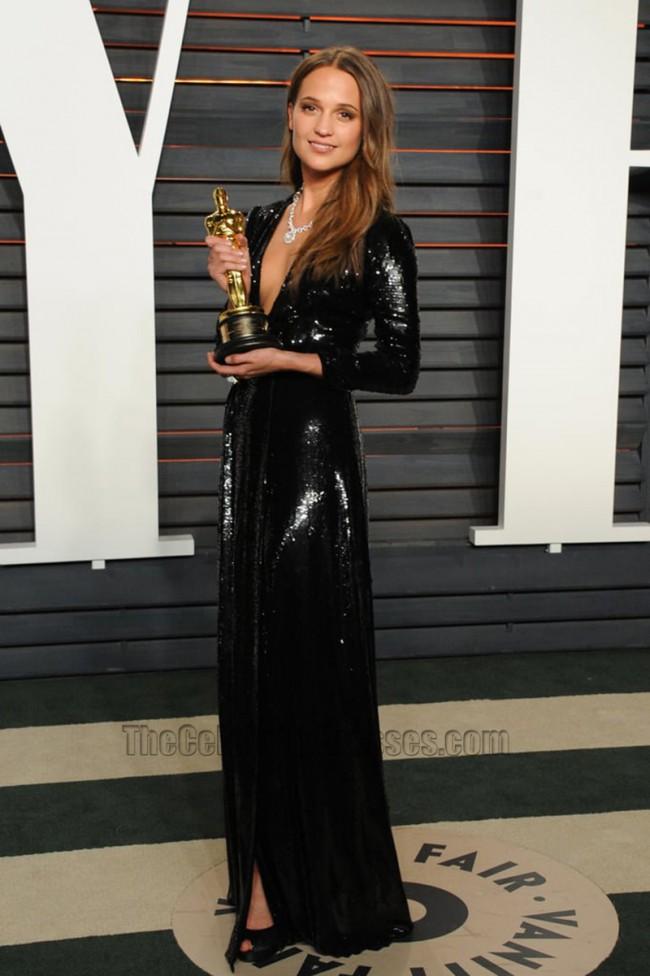 Alicia Vikander Black Long Sleeve Sequins Evening Dress