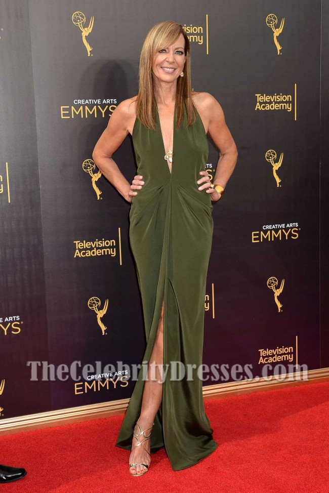 Allison Janney Sexy Deep V Neck Backless Slip Dress