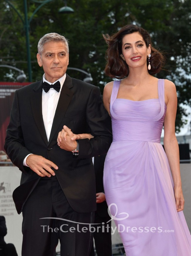 Amal Clooney Lilac Evening Dress 'Suburbicon' Venice Film