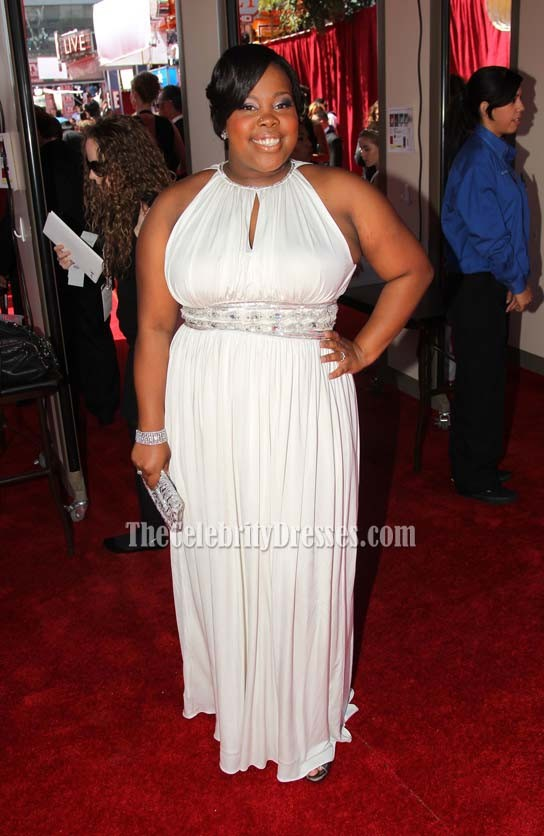 Amber Riley White Plus Size Prom Dress Formal Gown 62nd Primetime ...