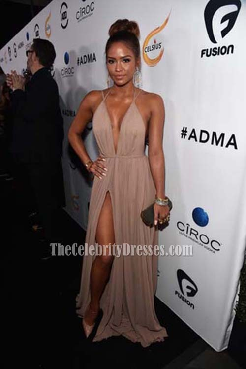 9a57b29558 Cassie Ventura First-Ever All Def Movie Awards Spaghetti Straps Deep V-neck  Evening