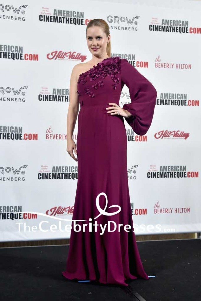 d86fff834cd9 Amy Adams Plum One Shoulder Floral-appliqued Evening Dress With Sleeves  31st Annual American Cinematheque