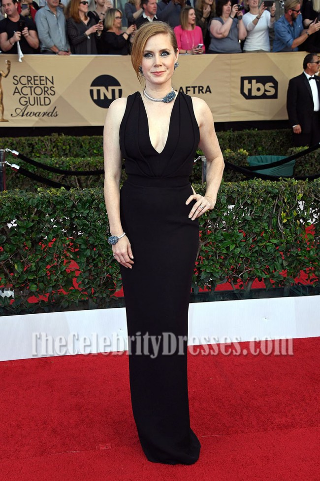 Amy Adams Black Deep V Neck Evening Prom Gown Sag Awards