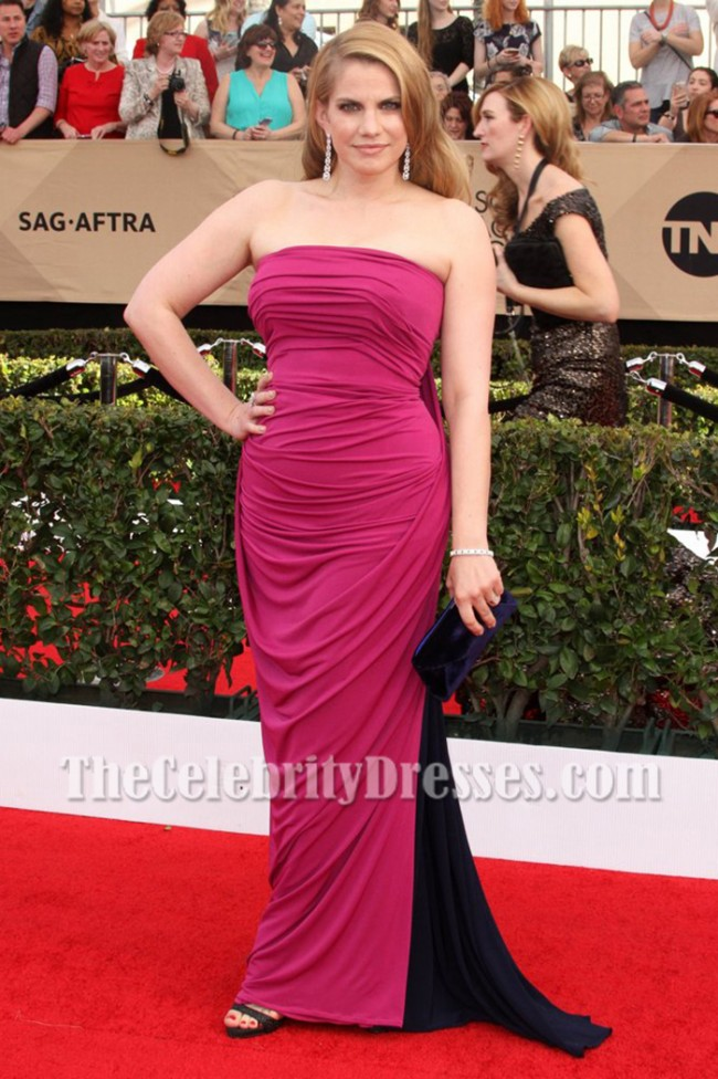 Anna Chlumsky Two Tones Strapless Evening Prom Gown 2017 SAG Awards ...