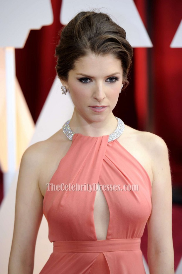 Anna Kendrick 2015 Oscars Red Carpet Coral Formal Dress