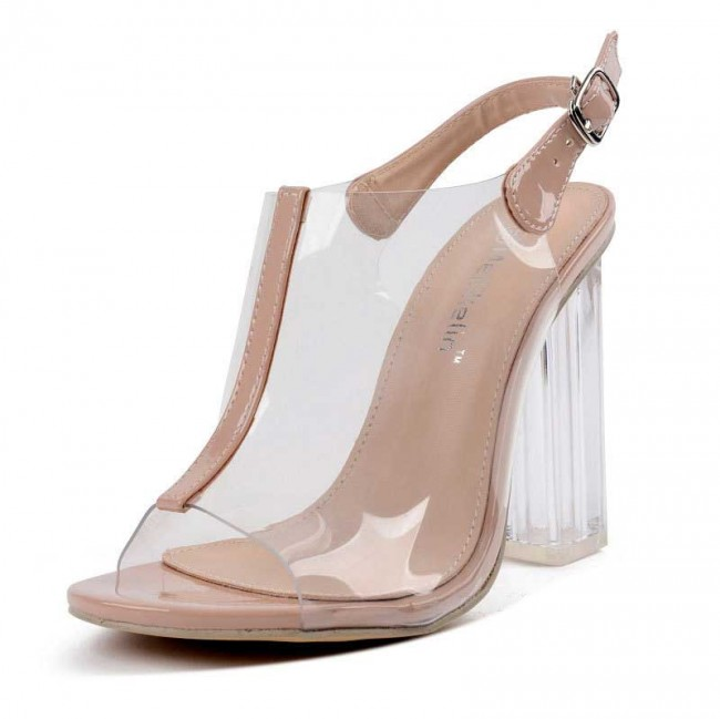 405780778cf Apricot Transparent Open Toe Ankle Strap Sandals High Heels Shoes For Women