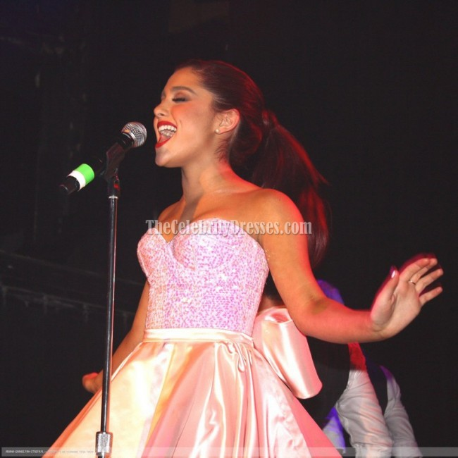Ariana grande cute pink cocktail dress irving plaza for Ariana grande wedding dress