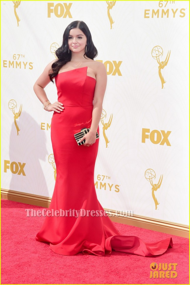 Ariel Winter Red Strapless Formal Dress 2015 Emmy Awards