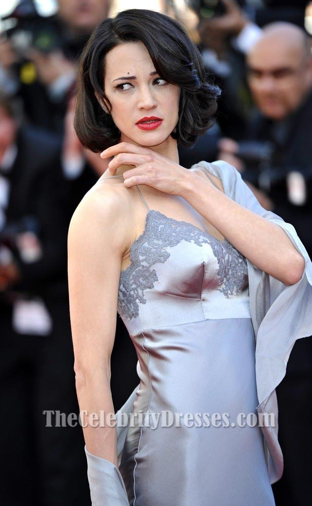 Asia Argento Silver Evening Dress 2013 Cannes Film