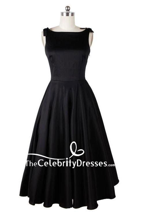 Audrey Hepburn Vintage Tea Length Black Dress Thecelebritydresses