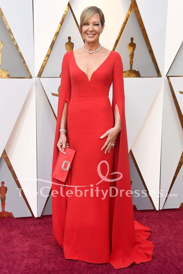 Allison Janney Red Evening Gown Oscars 2018 Red Carpet Formal Dress ...