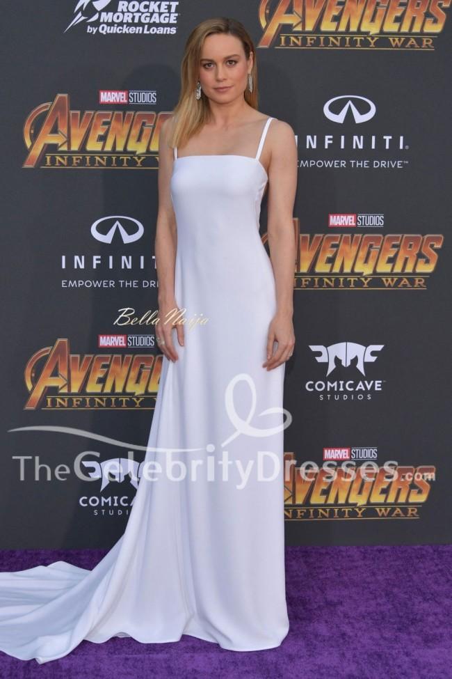 Brie Larson White Backless Evening Dress Avengers