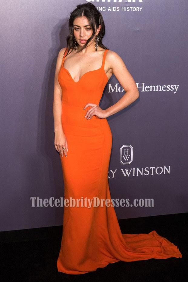 charli xcx orange evening dress amfar hong kong celebrity